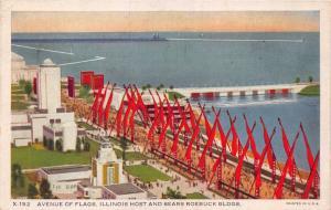 CHICAGO CENTURY OF PROGRESS~AVENUE OF FLAGS~ILLINOIS & SEARS ROEBUCK POSTCARD