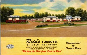 Vintage Postcard Reid's Tourotel Shively Kentucky Duncan Hines AAA Unposted  281