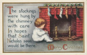 CHRISTMAS, 1900-10s; Toddler sitting in front of fireplace, Stockings, Poem