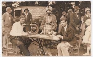 Group of Men & Women At Event, 1931 RP PPC Wroe & Briggs Signwritten Van To Rear