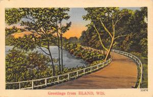 Eland Wisconsin~Curvy Road Past Norrie Creek~1940s Linen Postcard