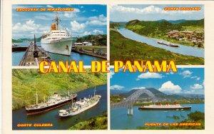 P1919 vintage postcard multi view ships panama canal writting on reverse
