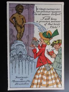 Manneken PIS I WILL KEEP A PRECIOUS SOUVINIR OF THAT... Series 2 Old Postcard