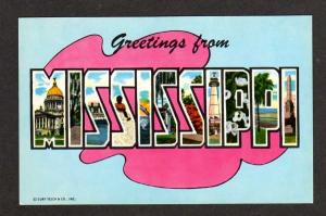MS Greetings  MISSISSIPPI Large Letter Postcard MISS PC