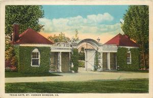Mt. Vernon, Virginia, VA, Texas Gate, White Border Vintage Postcard d8655