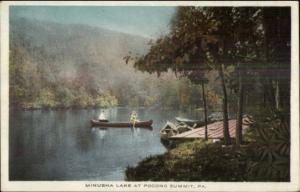Canoe Caneing Minusha Lake Pocono Summit PA c1910 Postcard