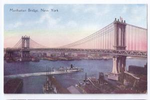 Manhattan Bridge New York NY Vintage ca 1910 Postcard