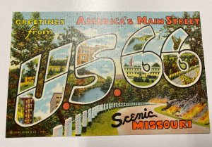 Greetings from America's Main Street US 66 Scenic Missouri Large Letter Postcard