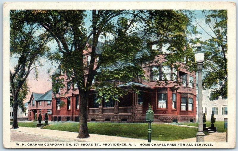 Providence RI Postcard W.H. GRAHAM CORP. 571 Broad Street Home Chapel c1910s