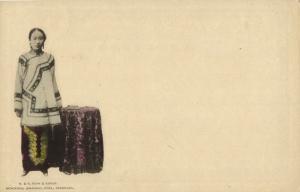 china, Young Girl, Small Bound Feet Foot Binding (1899) Kuhn & Komor Postcard