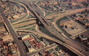 Los Angeles California~Freeway System Showing Downtown Aerial View~1950s Pc