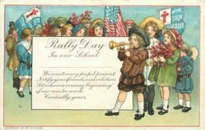 Artist Impression people Westminster C-1910 Rally Day School Postcard 21-10684