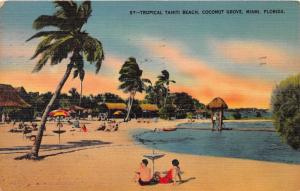 MIAMI FLORIDA~COCONUT GROVE~TROPICAL TAHITI BEACH POSTCARD 1940