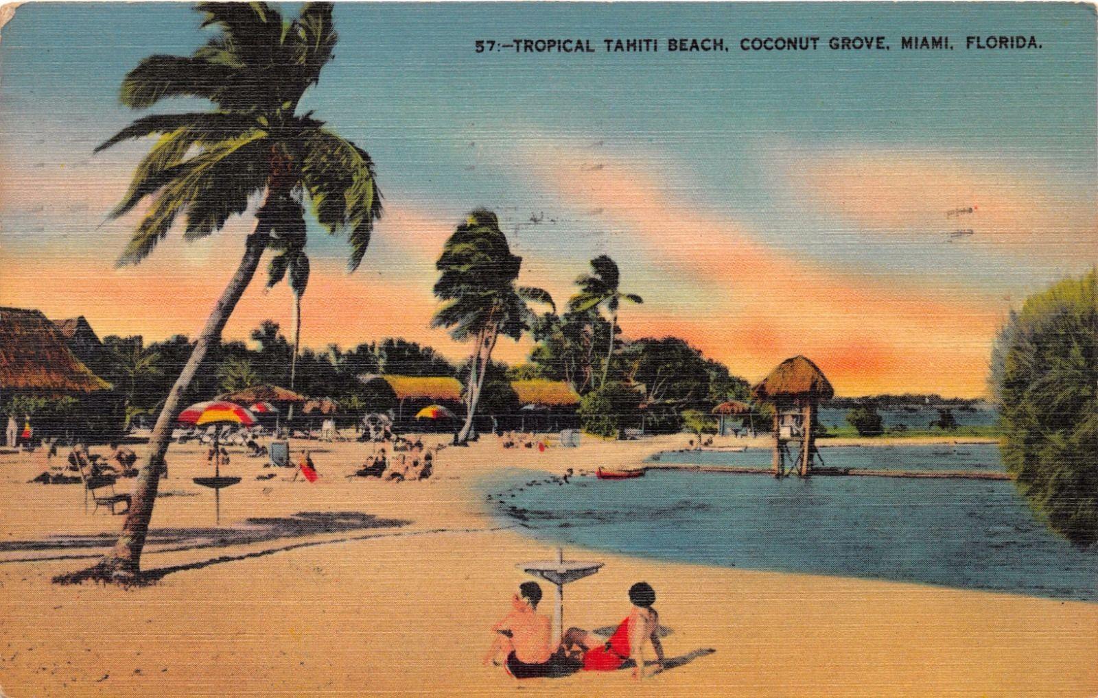 Tropical Tahiti Beach Postcard 1940
