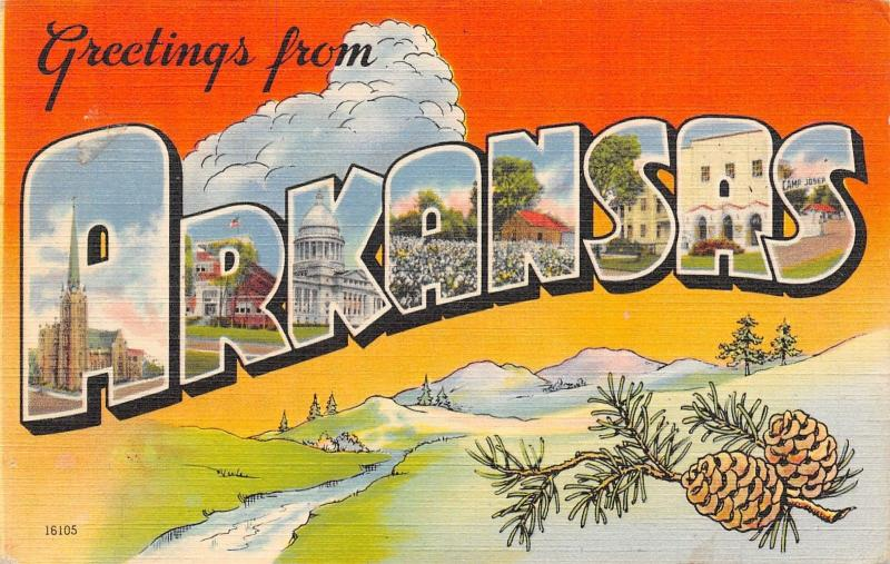 Arkansas~State Large Letter Linen Postcard~Pine Cones~Mtn Valley Creek~1940s PC