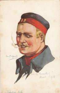 Head Portrait by artist Em. DUPUIS, WWI, Infauterie Belge (Belgium)