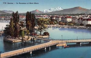 Geneva, Switzerland, Ile Rousseau et Mont Blanc, Early Postcard, Unused