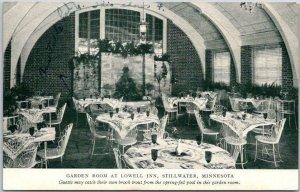 1940s Stillwater Minnesota Postcard Garden Room at LOWELL INN Hotel Restaurant