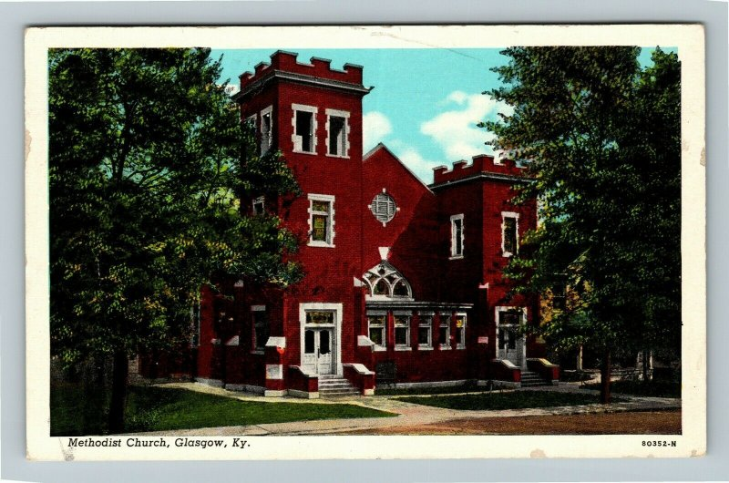 Glasgow KY-Kentucky, Methodist Church, Chrome c1952 Postcard