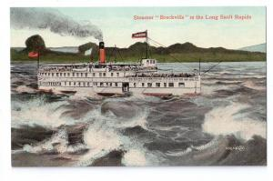 Canada Steamer Brockville Long Sault Rapids c1910 Ship Ferry