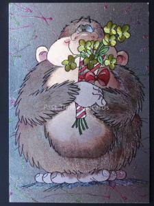MONKEY WITH BUNCH OF FLOWERS c1980's by F J Warren DUFEX FOIL Postcard 501937