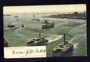 New York City, New York/NY Postcard, Ferry Boats In New York Harbor, 1906!