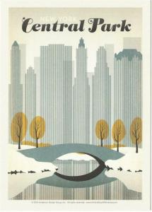 Postcard of New York City Central Park Travel Poster Style Postcard