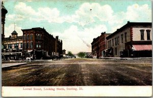 1908 Sterling, Illinois Postcard LOCUST STREET Looking North Downtown Scene