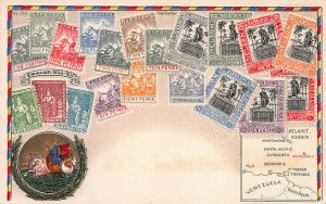 Barbados Stamps on Early Embossed Postcard, Unused, Published by Ottmar Zieher