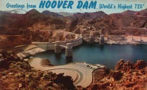 Greetings from Hoover Dam, Arizona, AZ, 1958 Chrome Vintage Postcard g1568