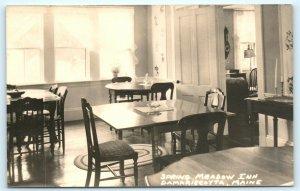 Postcard ME Damariscotta Spring Meadow Inn Interior Dining Room RPPC Photo L11