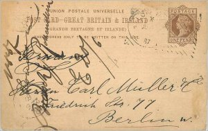 Entier Postal Stationery Postal Britain Great Britain to Berlin in 1887