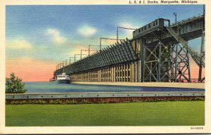 Michigan Marquette L S & I Docks Curteich