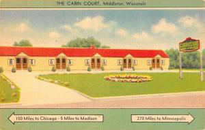 Middleton Wisconsin The Cabin Court Linen Antique Postcard K21161
