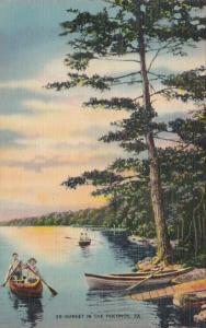 Pennsylvania Canoeing At Sunset In The Poconos 1942