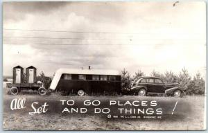 c1940s RPPC Outhouse Humor Comic Postcard ALL SET to Go Places & Do Things!