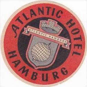 GERMANY HAMBURG ATLANTIC HOTEL VINTAGE LUGGAGE LABEL