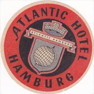 GERMANY HAMBURG ATLANTIC HOTEL VINTAGE LUGGAGE LABEL