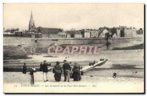 Old Postcard Saint Malo Les Remparts Place Bon Secours