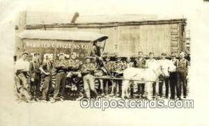 Webster Citizens Co. Ice Pennsylvania Railroad in Background Real Photo Horse...