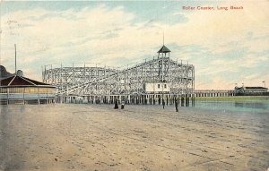 G26/ Long Beach California Postcard 1909 Roller Coaster Amusement Park