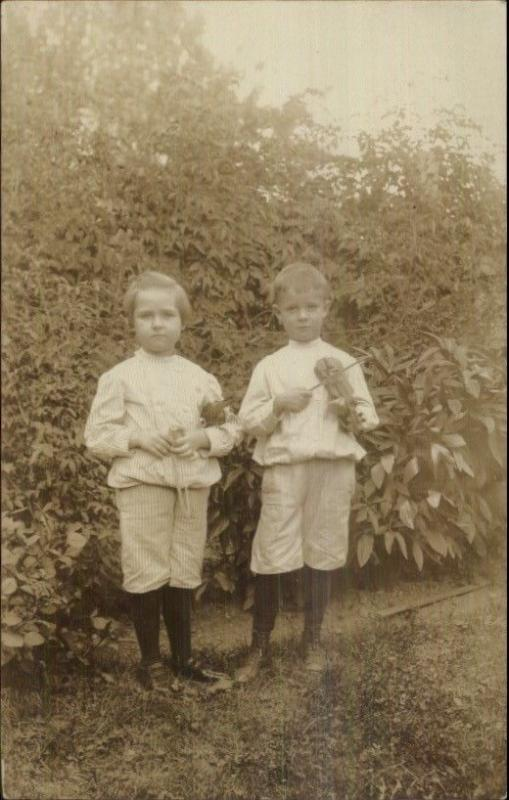 Children Boy & Girl w/ Miniature Violins c1910 Real Photo Postcard MUSIC