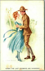 Artist-Signed ARCHIE GUNN Postcard When Last Goodbyes Are Whispered Military