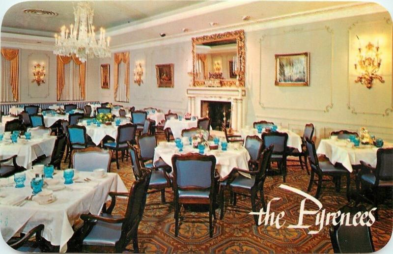 Skokie Illinois~The Pyrenees~Restaurant Interior~1950s  Postcard