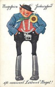 Germany vintage postcard man caricature