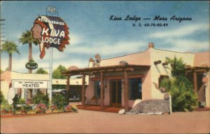 Mesa AZ Kiva Lodge Linen Roadside Postcard