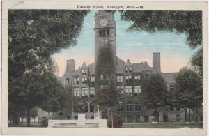 Michigan MI Postcard 1929 MUSKEGON Hackley School Building