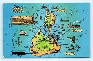 Postcard RI Block Island Map of Block Island I15