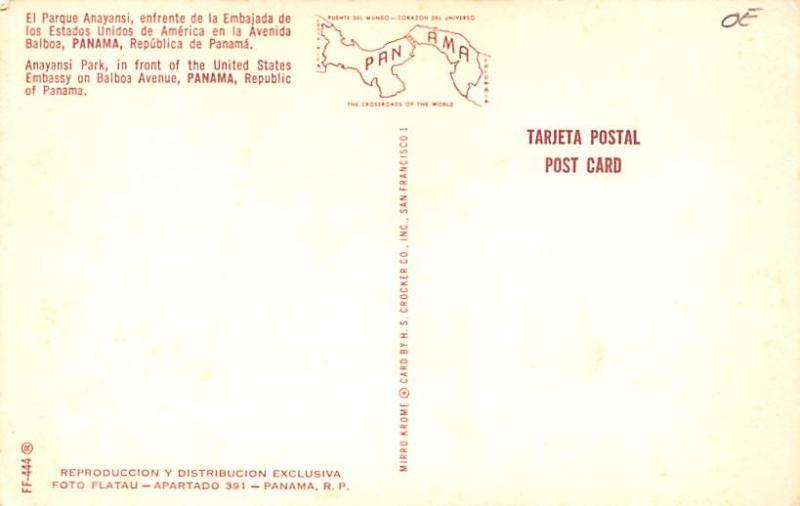 Panama Old Vintage Antique Post Card Anayansi Park Balboa Avenue Unused