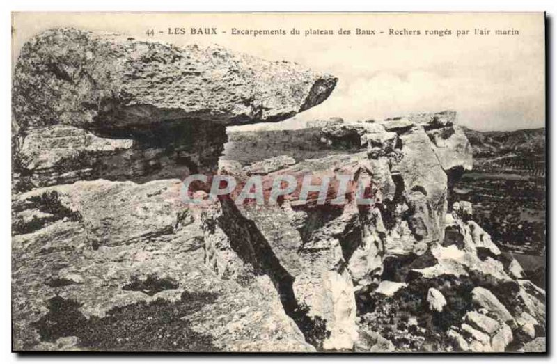 Old Postcard Les Baux Escarpments plateau Baux Rocks eroded by the sea air